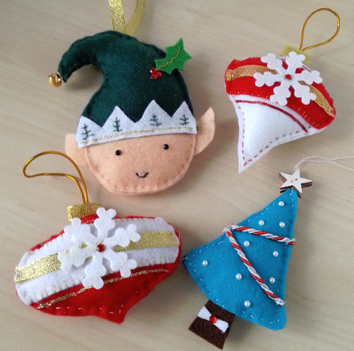 handmade Christmas felt ornaments